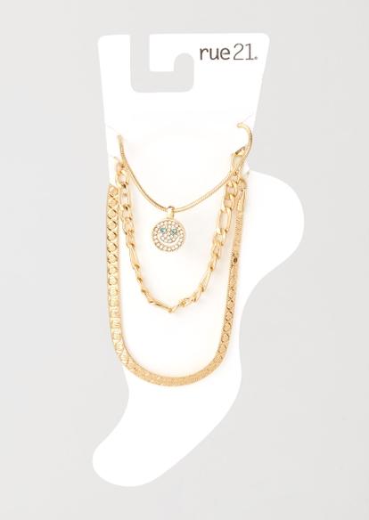 3-pack gold rhinestone smiley anklet set - Main Image