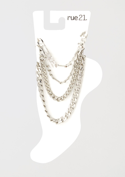 4-pack silver chain anklet set - Main Image