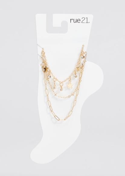 3-pack gold chain rhinestone star charm anklet set - Main Image