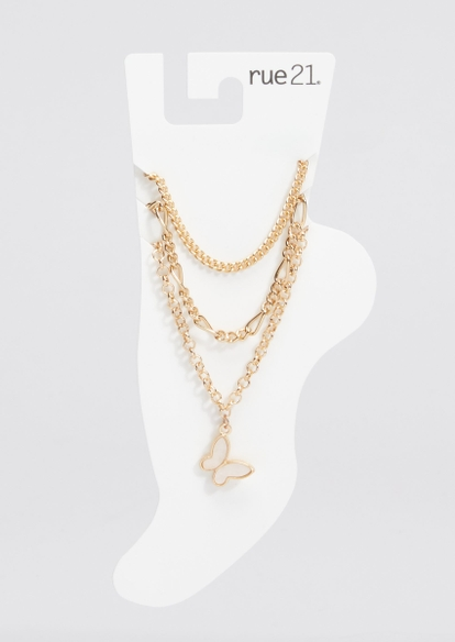 3-pack gold chain butterfly outline charm anklet set - Main Image