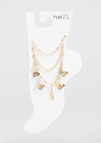 3-pack gold chain dainty butterfly charm anklet set - Main Image