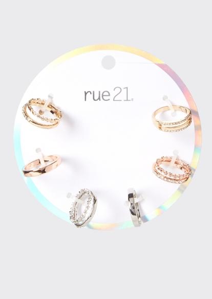 9-pack mixed metal gemstone stacking rings - Main Image