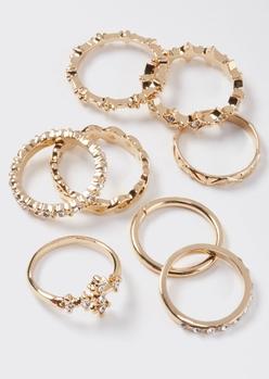 8-pack gold rhinestone cross band ring set - Main Image