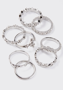 8-pack silver rhinestone cross band ring set - Main Image