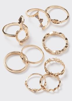 9-pack gold snake evil eye ring set - Main Image