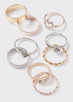 9-pack mixed metal heart braid ring set - Main Image