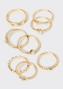 8-pack gold celestial moon ring set - Main Image