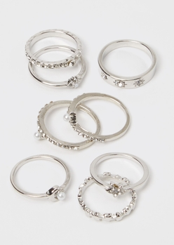 8-pack silver celestial moon ring set - Main Image