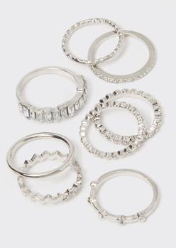 8-pack silver rhinestone band ring set - Main Image