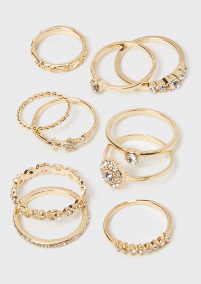 10-pack gold rhinestone star ring set - Main Image
