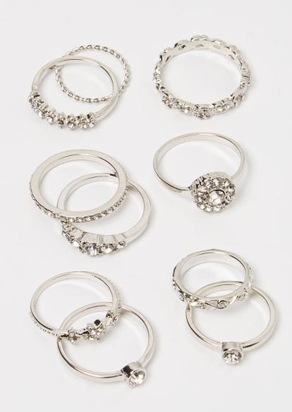 10-pack silver rhinestone star ring set - Main Image