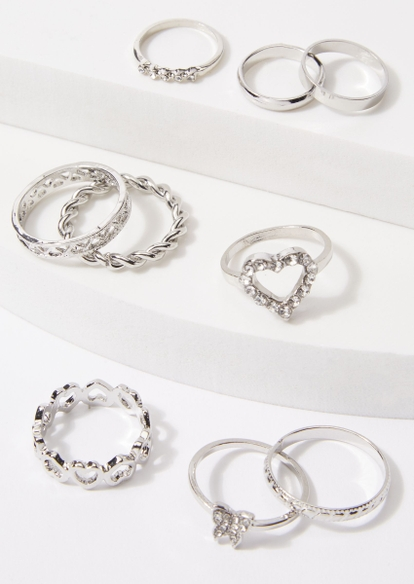 9-pack silver rhinestone butterfly ring set - Main Image