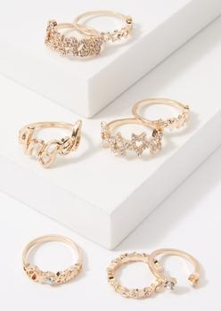 8-pack gold angel rhinestone star band ring set - Main Image
