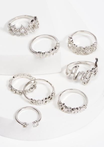 8-pack silver angel rhinestone star band ring set - Main Image