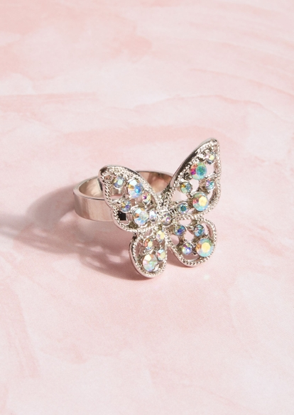 silver rhinestone butterfly ring - Main Image