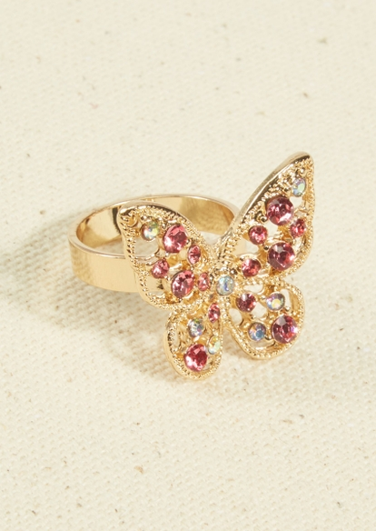 gold rhinestone butterfly ring - Main Image
