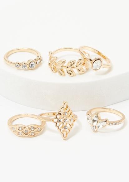6-pack gold leaf and rhinestone band ring set - Main Image