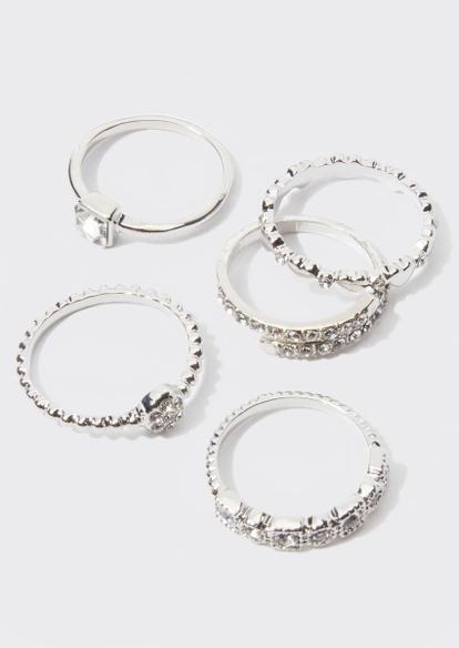 5-pack silver rhinestone ring set - Main Image