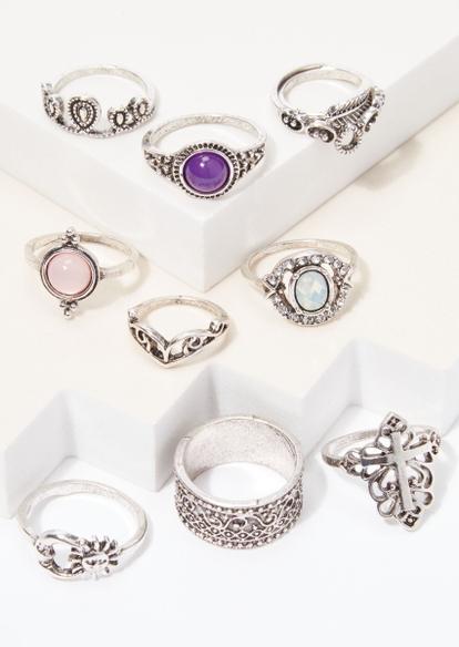 9-pack silver boho stone ring set - Main Image
