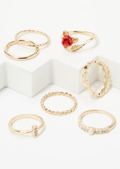7-pack gold stackable rose ring set - Main Image
