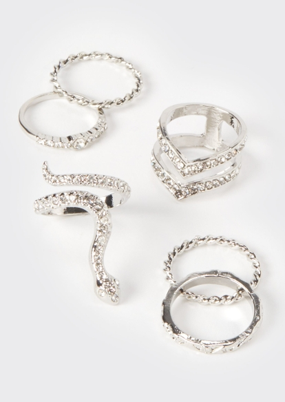 6-pack silver snake ring set - Main Image