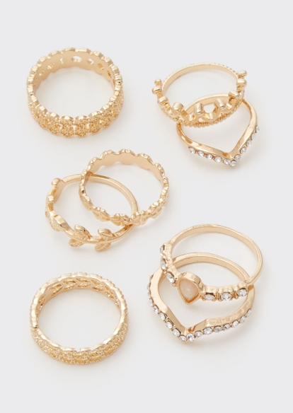 8-pack gold crown vine ring set - Main Image