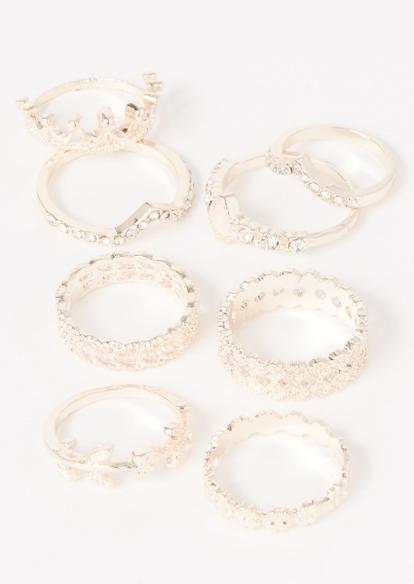 8-pack rose gold crown vine ring set - Main Image