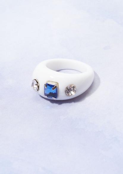 white chunky acrylic rhinestone ring - Main Image