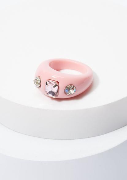 pink chunky acrylic rhinestone ring - Main Image