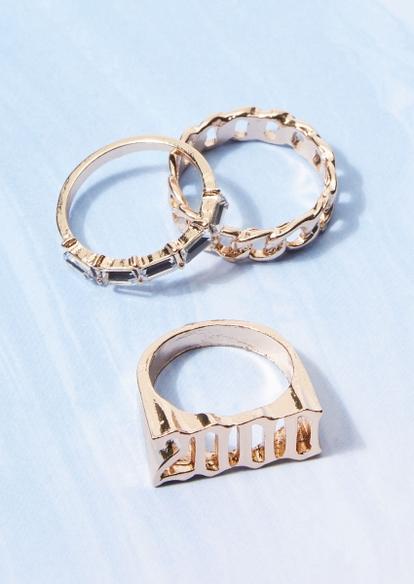 3-pack gold 2000 chain rhinestone ring set - Main Image