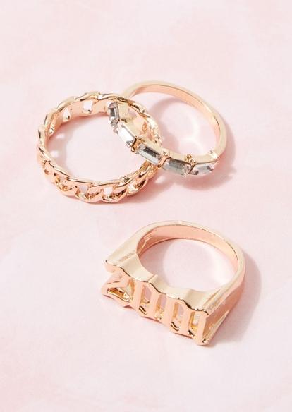 3-pack gold 2001 chain rhinestone ring set - Main Image