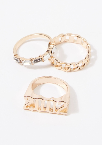 3-pack gold 2002 chain rhinestone ring set - Main Image