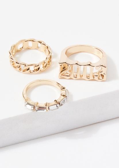 3-pack gold 2003 chain rhinestone ring set - Main Image