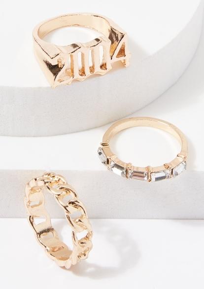 3-pack gold 2004 chain rhinestone ring set - Main Image