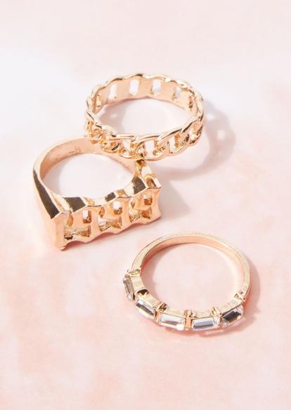 3-pack gold 1999 chain rhinestone ring set - Main Image