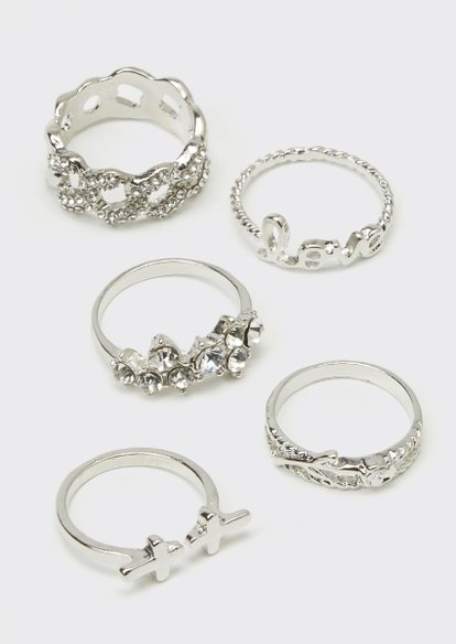 5-pack silver chain ring set - Main Image