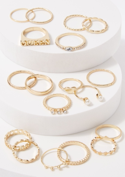 18-pack gold queen twist heart ring set - Main Image