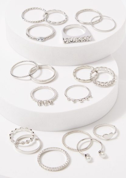 18-pack silver pearl heart queen ring set - Main Image