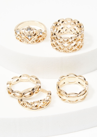 5-pack gold filagree crown ring set - Main Image