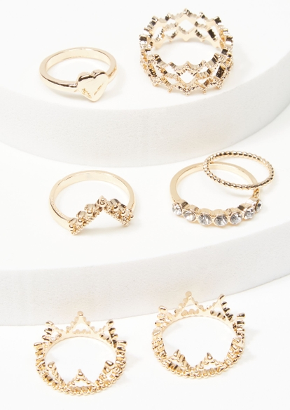 7-pack gold heart crown ring set - Main Image