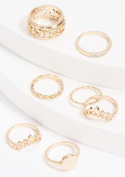 7-pack gold tiara twist rhinestone ring set - Main Image