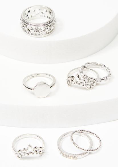 7-pack silver filagree arch band ring set - Main Image