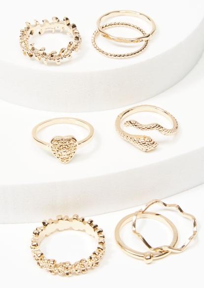 8-pack gold leaf snake wrap ring set - Main Image