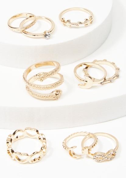 9-pack gold snake moon ring set - Main Image