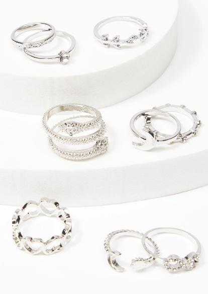 9-pack silver snake moon ring set - Main Image