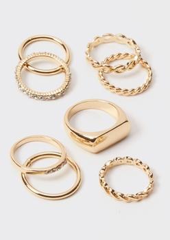 8-pack gold rhinestone twist band rings - Main Image