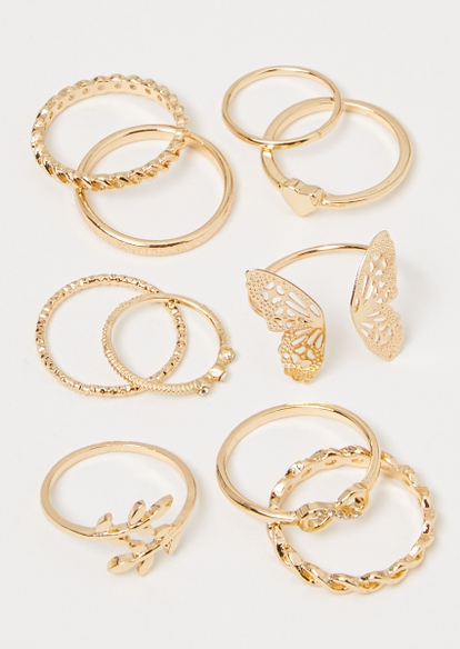 8-pack gold butterfly stacking ring set - Main Image
