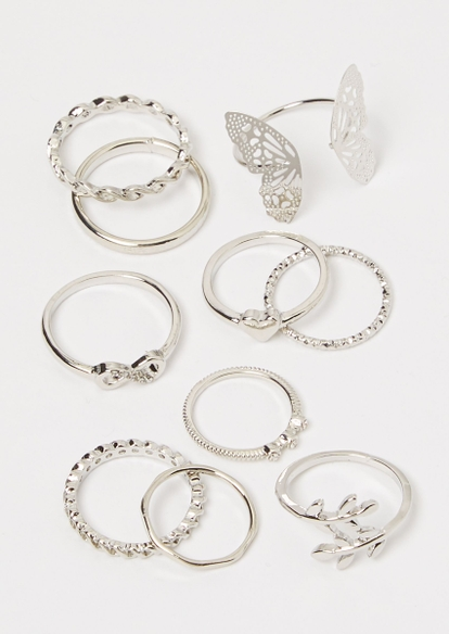 8-pack silver butterfly stacking ring set - Main Image