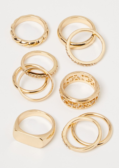10-pack gold rhinestone signet ring set - Main Image