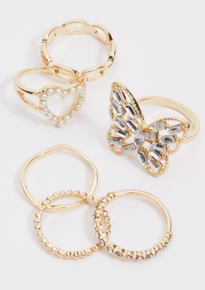 6-pack gold pearl heart butterfly ring set - Main Image